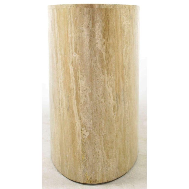 Italian Italian Elliptical Travertine Console Table For Sale - Image 3 of 7