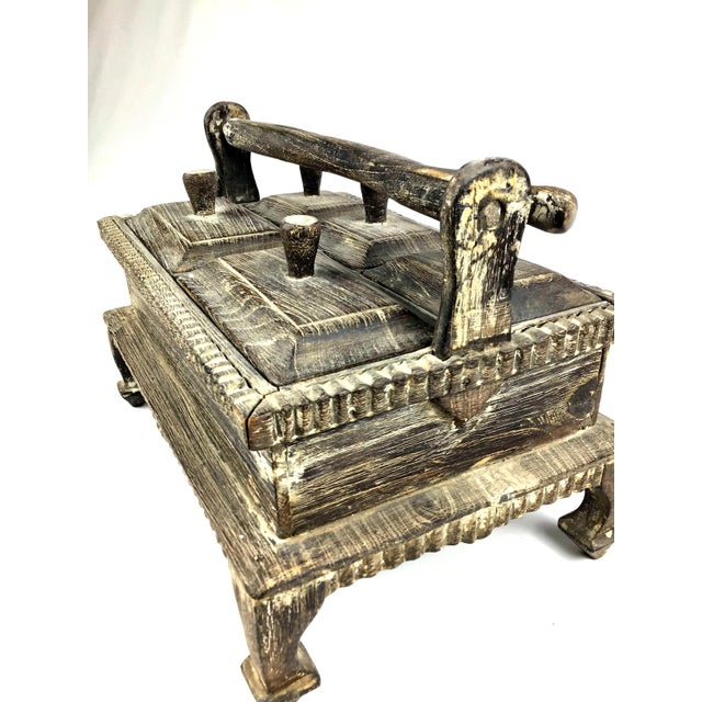 1900s Asian Hand Carved Wood Spice Box For Sale - Image 4 of 11