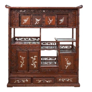 Chinese Rosewood and Mother of Pearl Cabinet For Sale