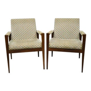 Vintage Mid Century Gaylord Brothers Walnut Lounge Arm Chairs- A Pair For Sale