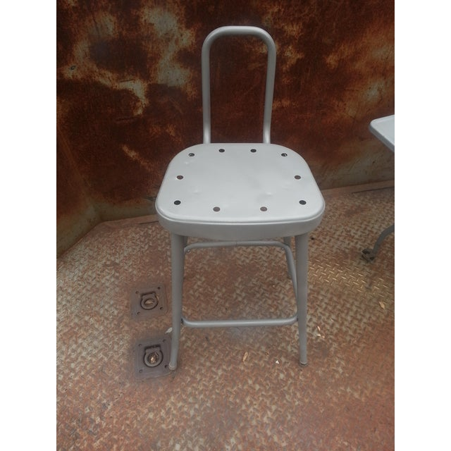 Industrial Drop Leaf Desk & Stool- A Pair For Sale - Image 4 of 8