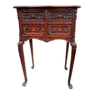 19th Century French Carved Chestnut Sewing Table For Sale