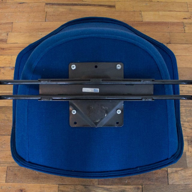Vecta Chair in Blue Tweed Upholstery, Maurice Burke Fiberglass Shell For Sale - Image 9 of 9