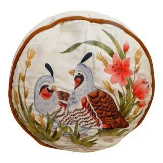 Quails Embroidered Linen & Velvet Pillow