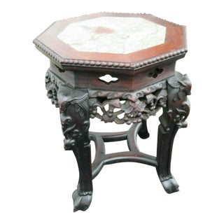 Early 20th Century Oriental Mahogany Heavy Hand Carved Marble Top Side Table For Sale