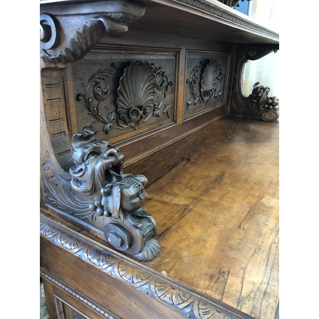 French Country 19th Century St. Hubert French Louis XIII Carved Walnut Buffet For Sale - Image 3 of 11