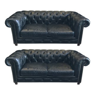Restoration Hardware Kensington Love Seats in Black Leather - a Pair