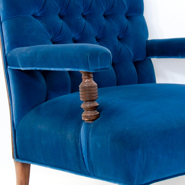 Textile Edwardian English Arm Chair and Foot Stool For Sale - Image 7 of 12