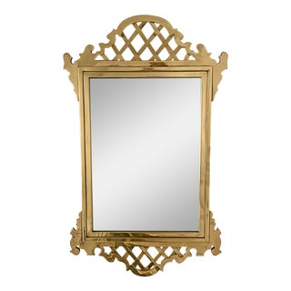 Chippendale Style Mirror in Solid Brass For Sale