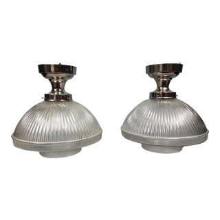 Urban Archaeology Industrial Ceiling Lights With Glass Shades Only One Left For Sale