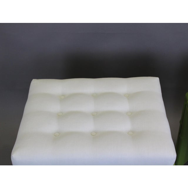 Pair of Faux Bamboo Green Benchches - Image 6 of 11