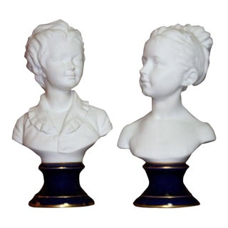 Limoges Busts Signed by Gamout Labesse - A Pair For Sale