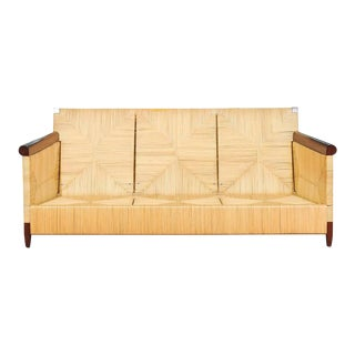 Superb Mahogany and Wicker Sofa by John Hutton for Donghia For Sale