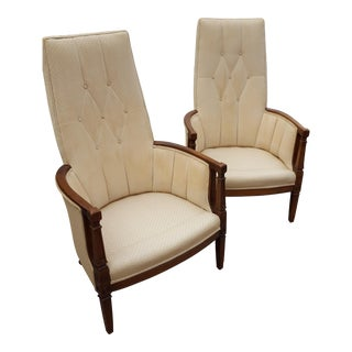 Vintage Straight Back Tufted Lounge Chairs - A Pair For Sale