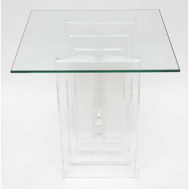 Transparent Lucite Plates Coffee Table Base For Sale - Image 8 of 9