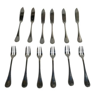 Christofle France Malmaison Silver Plated Fish Knife & Fork Flat Wear Service - Set of 12 Pieces For Sale