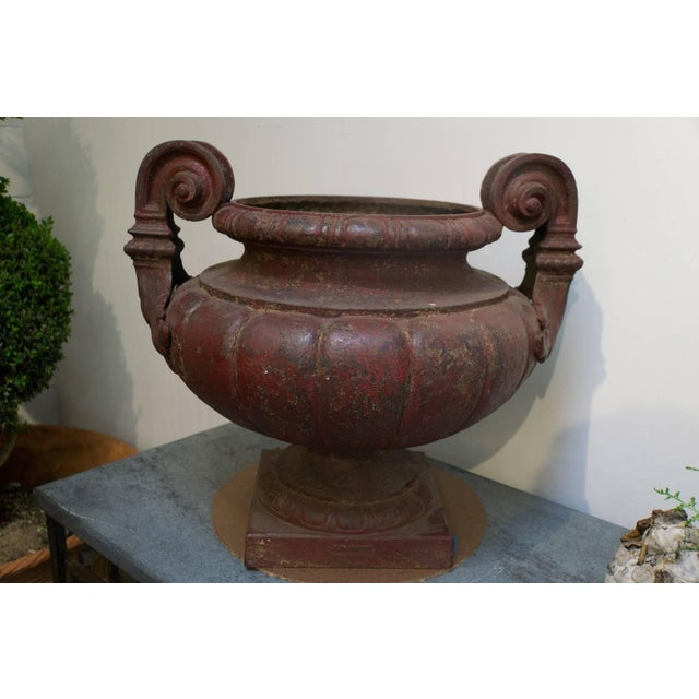 "Pair of cast iron medici urns cast by Durenne Founder in AIX Aix de Provence circa 1880 Measures: 21""OD x 11.5""ID x 20.5""H."
