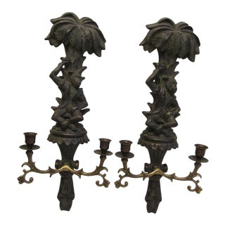 Contemporary Monkey Double Candle Wall Sconces - a Pair For Sale