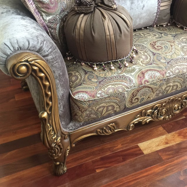 Traditional Purple & Paisley Loveseat With Pillows For Sale - Image 3 of 8