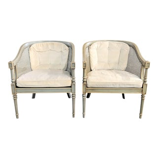 1970s Vintage Ethan Allen French Country Caned Barrel Accent Chairs- A Pair For Sale