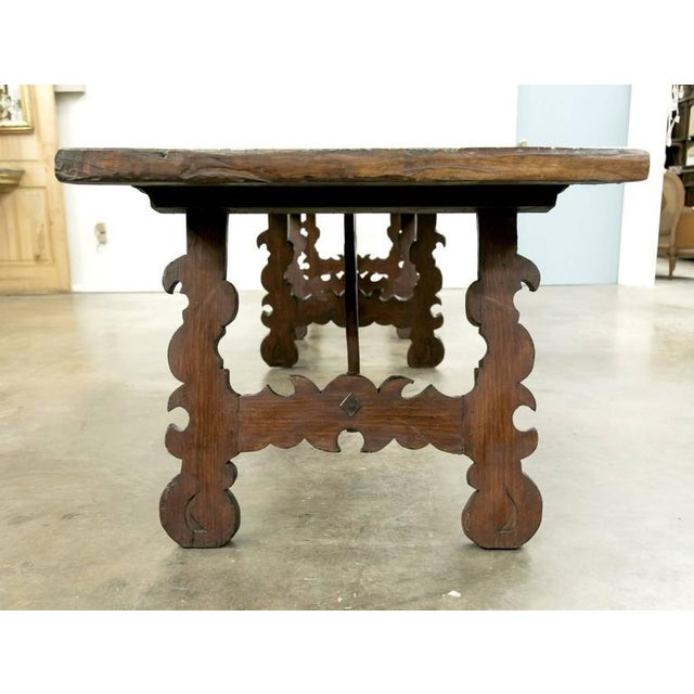 Walnut Early 19th Century Italian Baroque Style Walnut Trestle Dining Table For Sale - Image 7 of 10