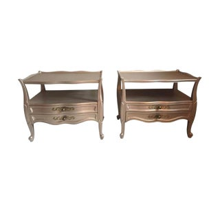 1970s Vintage Silver Painted Nightstands - A Pair For Sale
