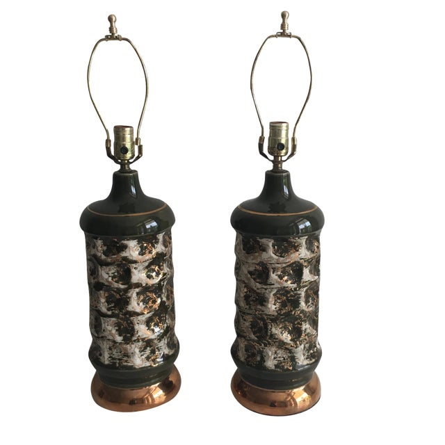 Forest & Gold Hollywood Regency Lamps- A Pair - Image 1 of 4