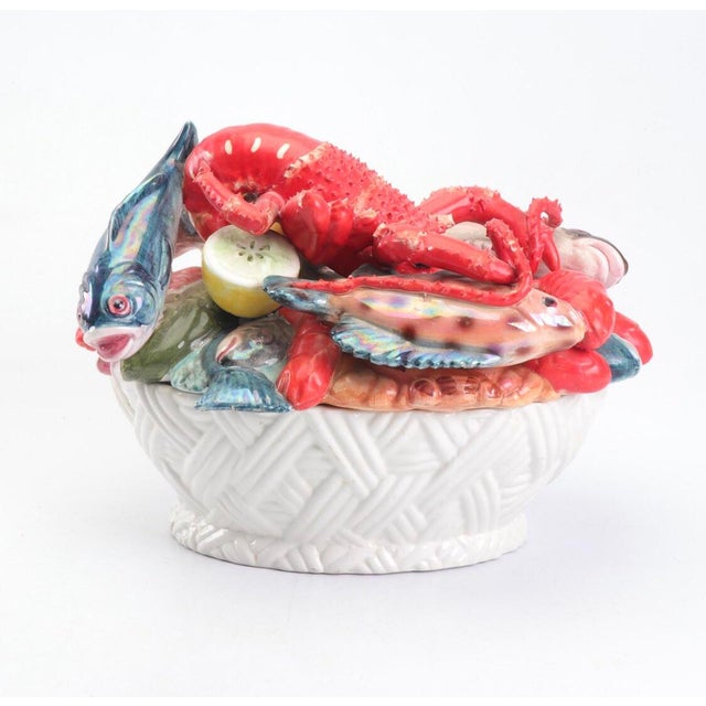 Red Mid-Century Majolica Style Ceramic Lobster and Fish Covered Dish For Sale - Image 8 of 8