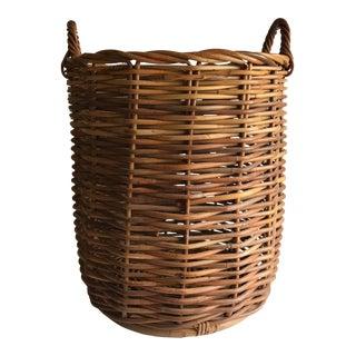 Vintage Rattan Floor Basket