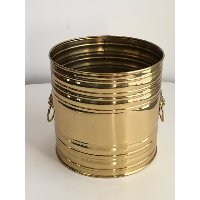 Mid-Century Modern Lion Head Brass Planter, Made in England For Sale - Image 3 of 11
