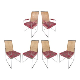 1970s Vintage Milo Baughman for Thayer Coggin High Back Chrome & Caned Dining Chairs- Set of 6 For Sale