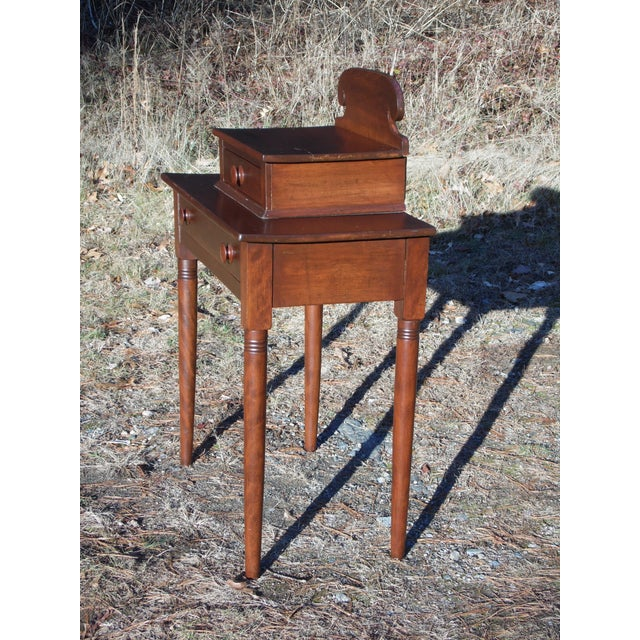 Farmhouse Antique 1840's Sheraton 2 Drawer Stand Desk Vanity Entry Table New England For Sale - Image 3 of 13
