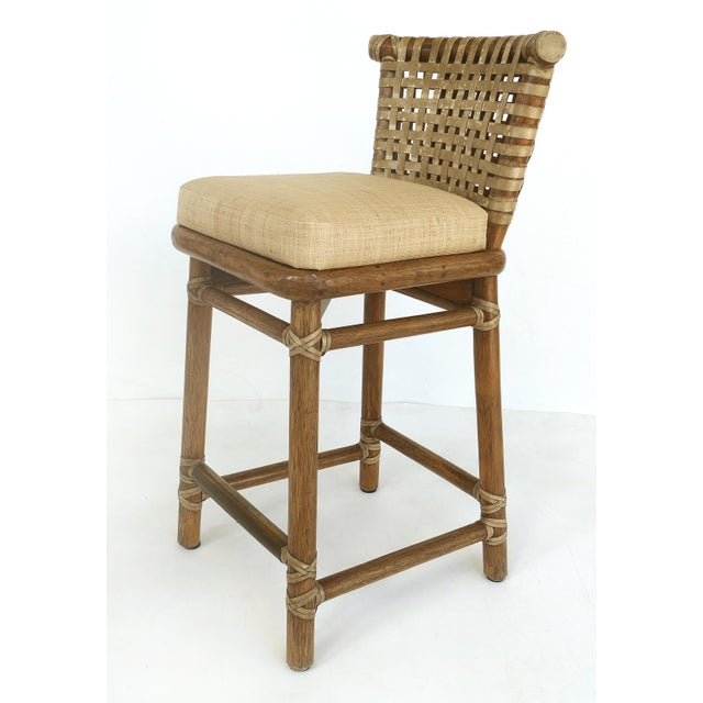 Contemporary McGuire San Francisco Leather Bound Counter Stools W/ Raffia Seats - A Pair For Sale - Image 3 of 13