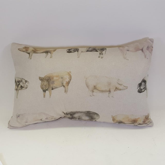 Brown Pig Bolster Pillow Made in Wales For Sale - Image 8 of 8