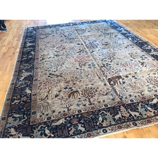 Antique Tabriz Pictorial Wool Rug - 9′4″ × 12′4″ Preview