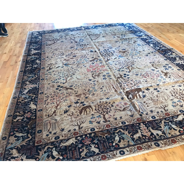 Pictorial Antique Tabriz circa 1890 in Navy blue and Tan.