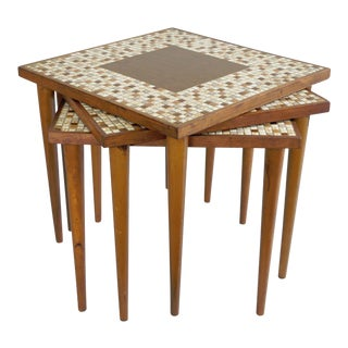 3 Vintage Mid Century Modern Stacking Nesting Snack Side Tables Tile Top Square