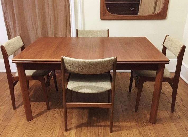 Mid Century Modern Danish Teak Extendable Draw Leaf Table And Chairs Set.  1960u0027s By