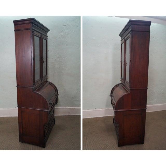 Victorian Walnut Cylinder Roll Secretary Desk - Image 3 of 10