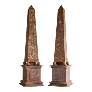 1950s Vintage French Aged Metal Neoclassical Obelisks - a Pair For Sale
