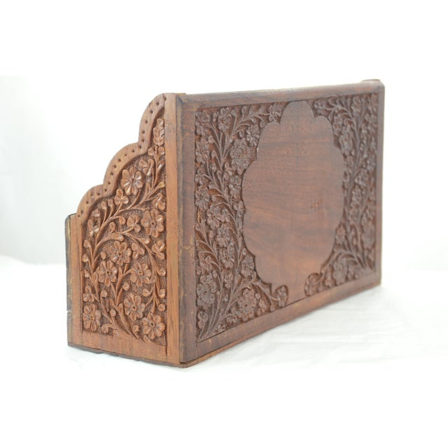 Mid 20th Century Carved Wood & Bone Letter Holder For Sale - Image 5 of 9