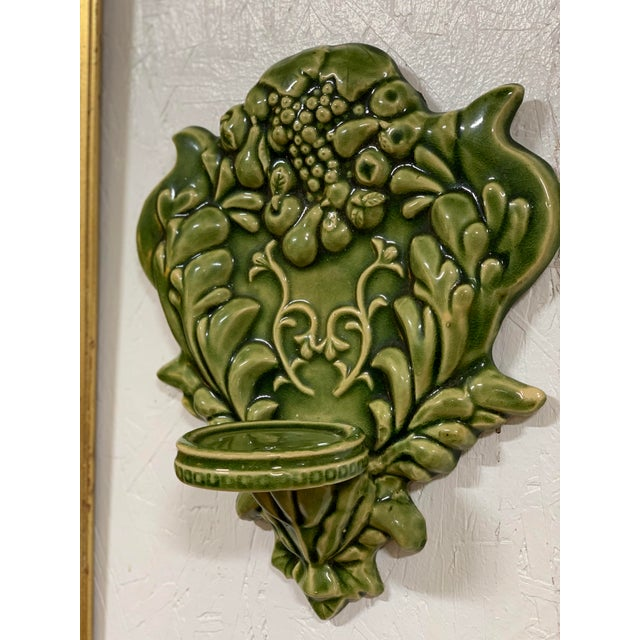 Green Majolica Fruit Wall Pockets - a Pair For Sale - Image 10 of 13