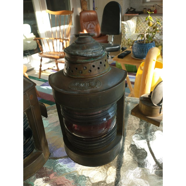Rustic Mid 20th Century Copper Nautical Lanterns - a Pair For Sale - Image 3 of 13