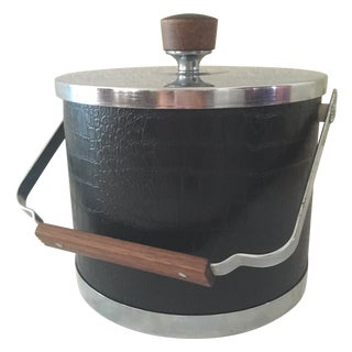 Mid-Century Modern Atapco Black Croc Ice Bucket