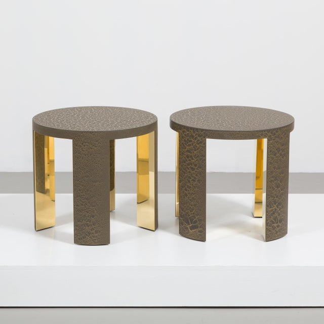 A Pair of Circular Crackle Side Tables by Talisman Bespoke (Bronze and Gold) Price includes 20% VAT which is removed for...