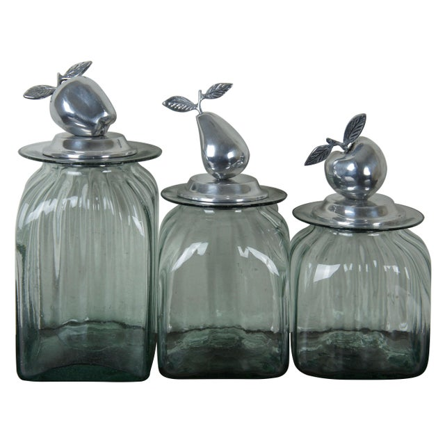 Vintage Hand Blown Glass Kitchen Canisters Jars - a Pair