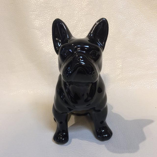 Great little pooch In black ceramic glaze. I think its a Boston Terrier of some sort? Just precious.