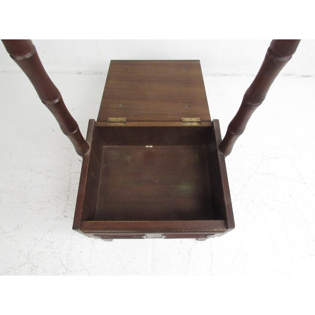 1950s Vintage Walnut and Vinyl Valet Chair For Sale - Image 5 of 13