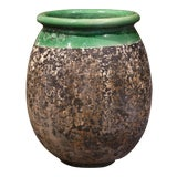 Image of Large French Terracotta Olive Jar With Green Glazed Neck From Provence For Sale