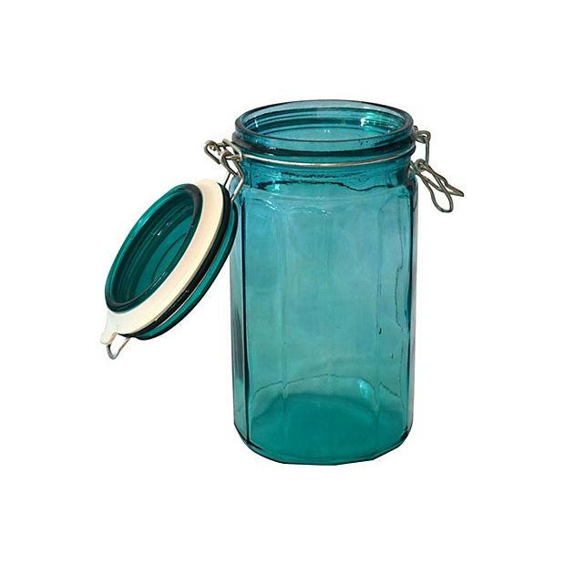 European Turquoise Glass Canisters - Set of 4 - Image 2 of 5